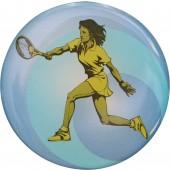 PLASTIC DESIGN FOR A TENNIS MEDAL - 2 WOMEN (COLOUR - 50MM)