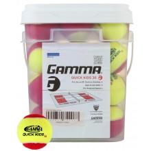 PACK OF 36 GAMMA QUICK KIDS STAGE 3 TENNIS BALLS