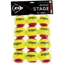 PACK OF 12 DUNLOP MINI TENNIS STAGE 3 BALLS