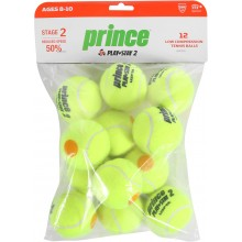 PACK OF 12 PRINCE MINI TENNIS PLAY & STAY STAGE 2 BALLS