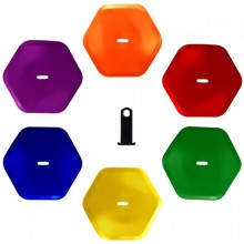 PACK OF 6 HEXAGONAL CONES (WITH SUPPORT FOR GROUND MARKING)