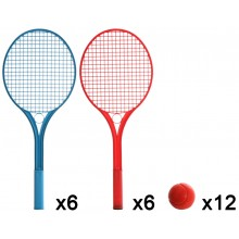 PACK OF 12 RACQUETS - 6 BLUE AND 6 RED