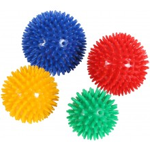SET OF 4 SPIKY BALLS PVC FLEXIBLE DIAM 7,8,9 AND 10CM