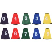 SET OF 10 CONE SLEEVES TEXTILE NUMBERED