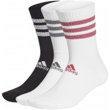 PACK OF 3 PAIRS OF WOMEN'S ADIDAS GLAM CREW 3 STRIPES MID-HIGH SOCKS