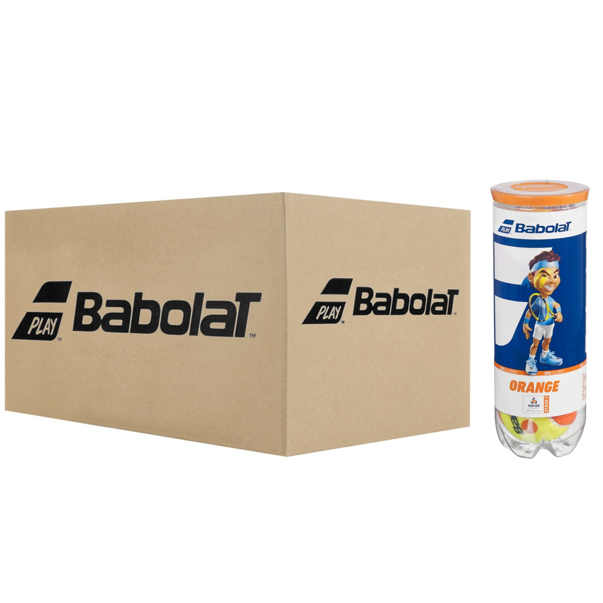 CASE OF 24 CANS OF 3 BABOLAT ORANGE TENNIS BALLS