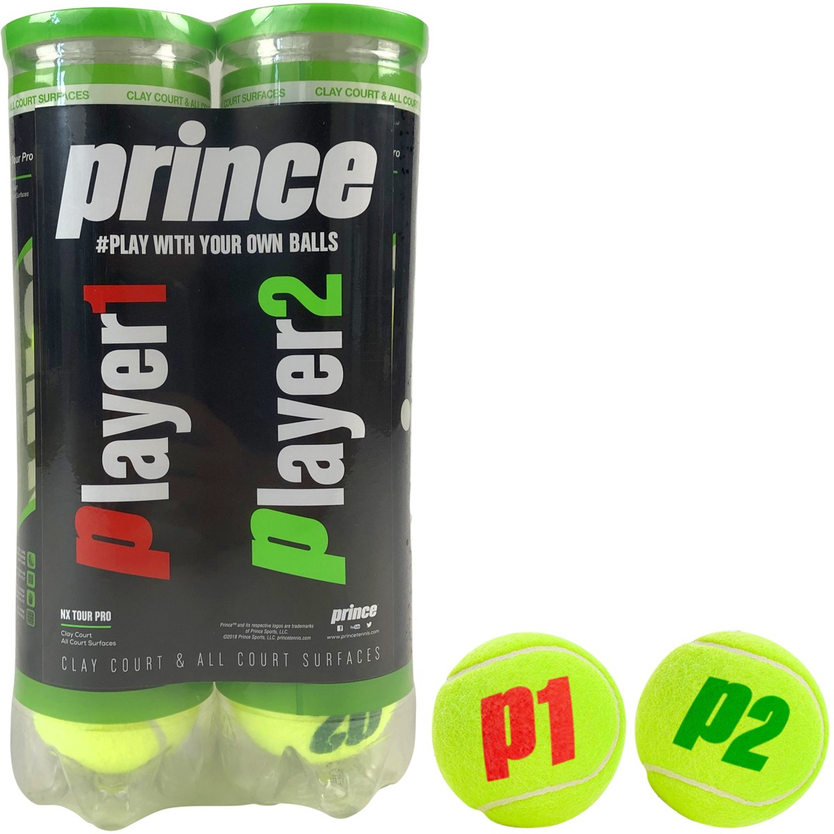 BIPACK OF 4 BALLS PRINCE NX TOUR PRO (PLAYER 1 & PLAYER 2)